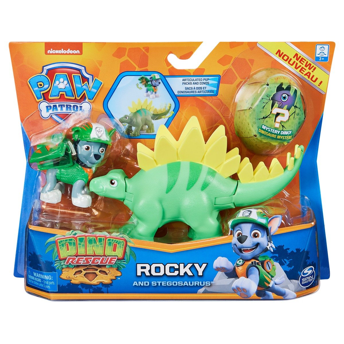 Set 2 figurine Paw Patrol Dino Rescue, Rocky and Stegosaurus, 20129715