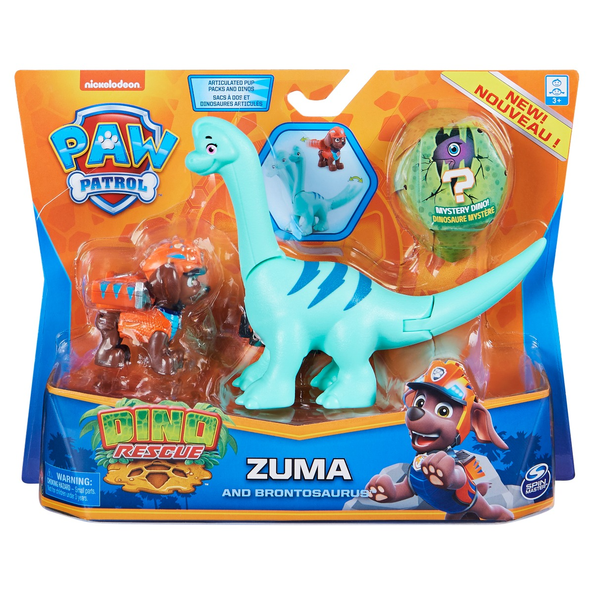 Set 2 figurine Paw Patrol Dino Rescue, Zuma and Brontosaurus, 20129716