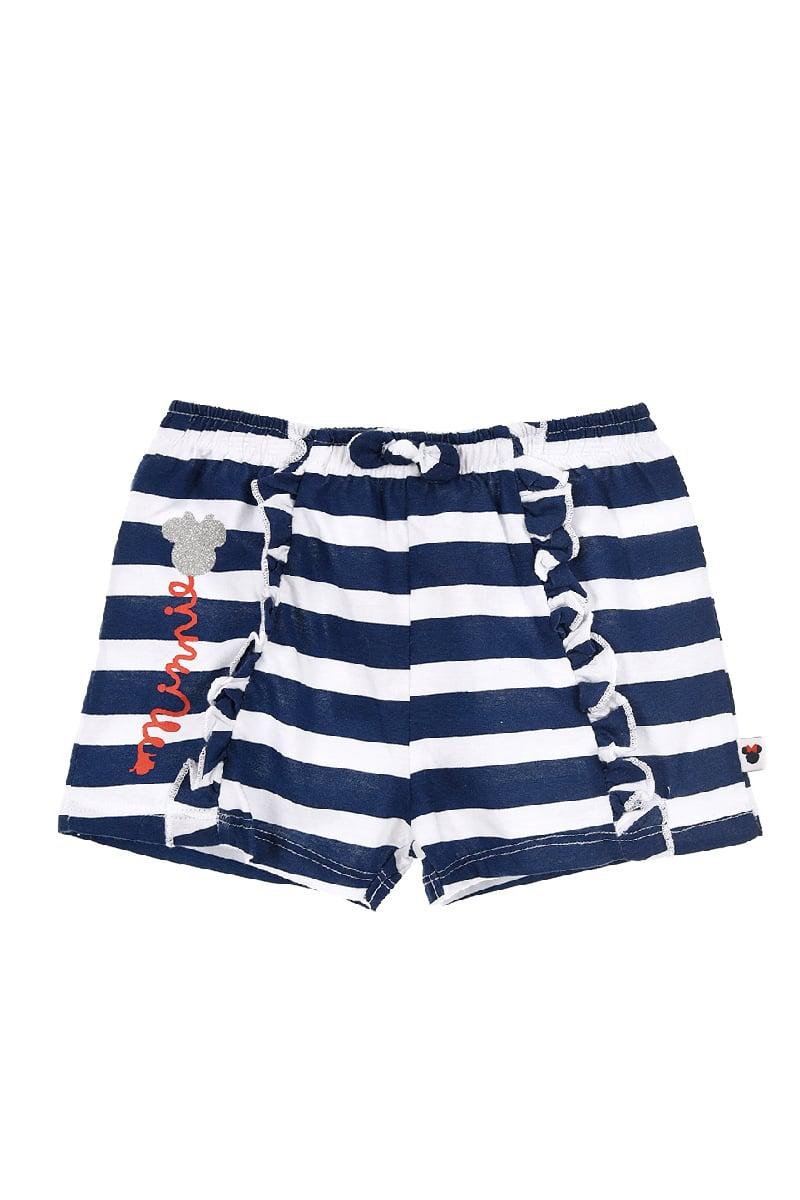 Pantaloni scurti in dungi albastre cu imprimeu, Minnie