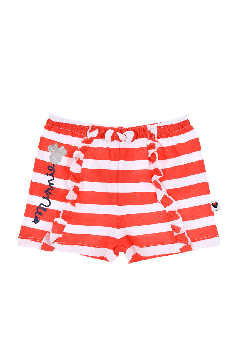 Pantaloni scurti in dungi rosii cu imprimeu, Minnie