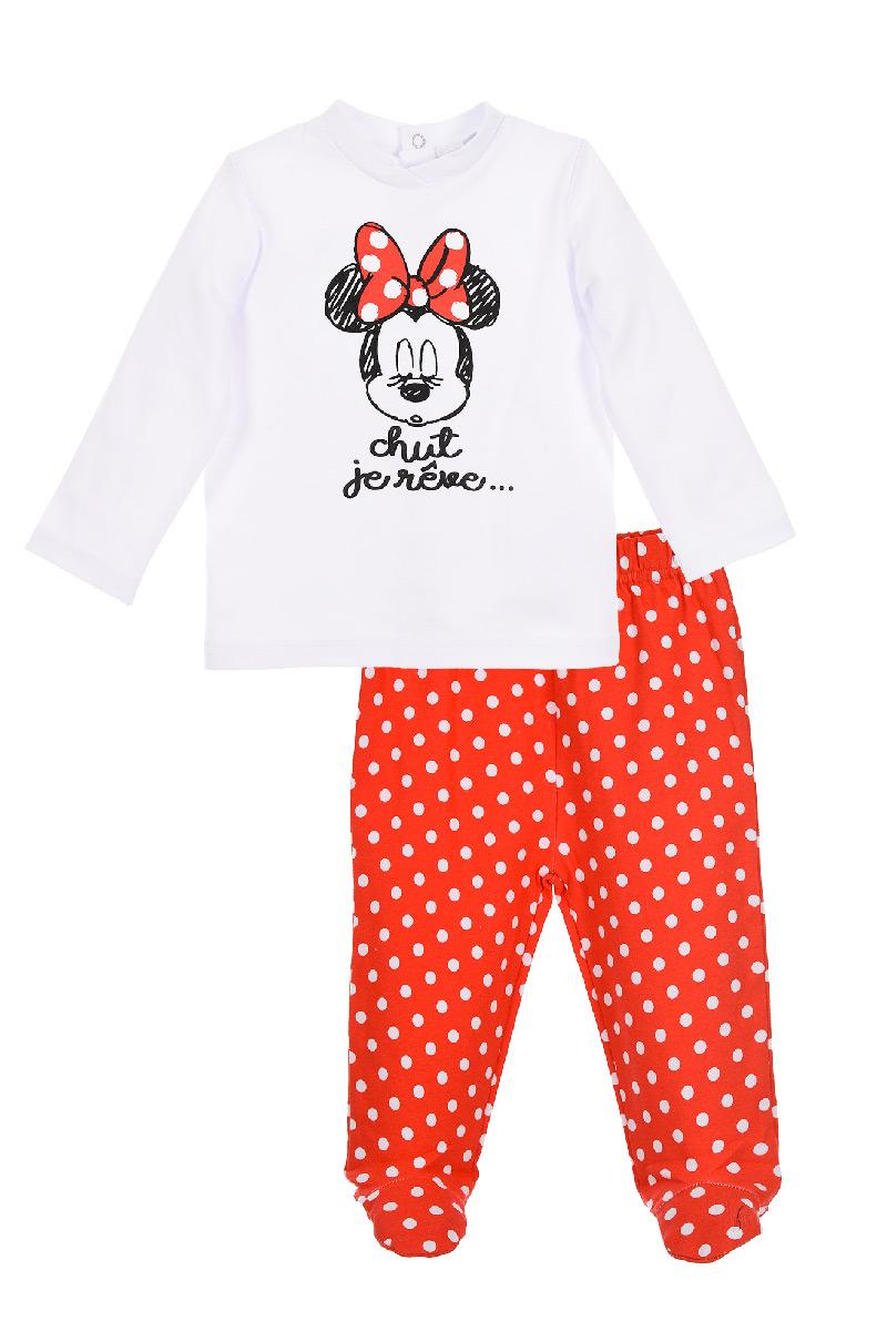 Set pantaloni si bluza cu imprimeu Disney Minnie Mouse, Rosu