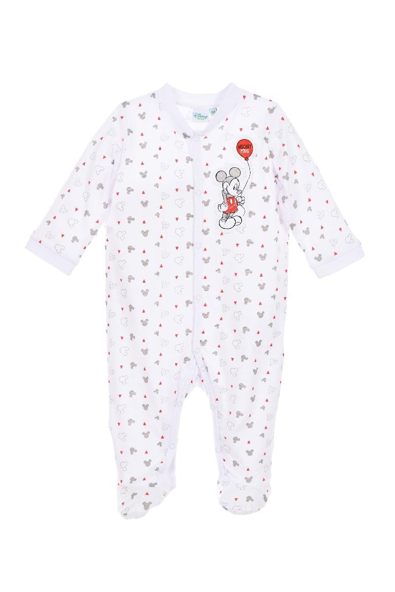 Salopeta bebe cu imprimeu Disney Mickey Mouse, Alb imagine