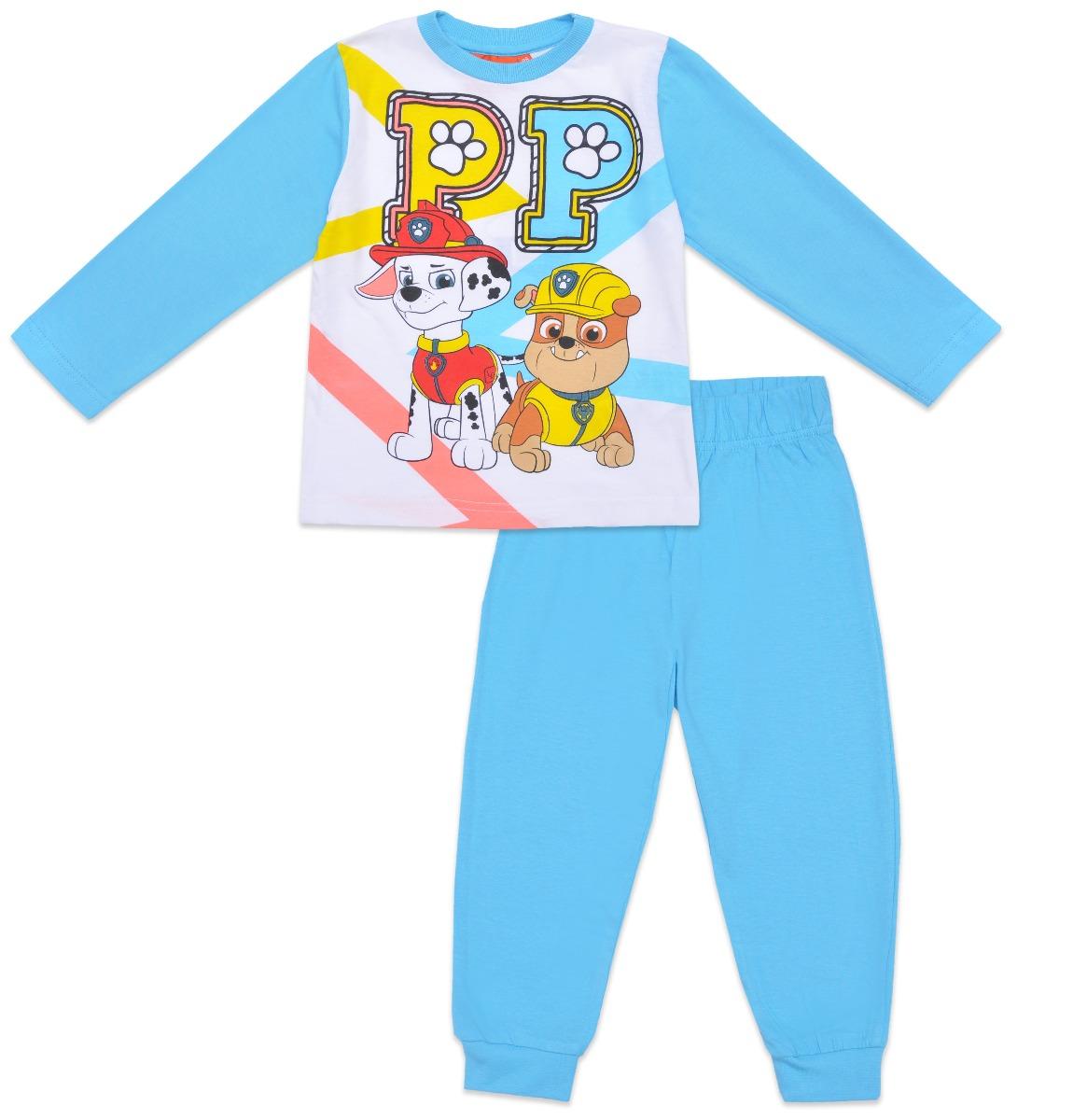 Pijama de baieti cu imprimeu Paw Patrol, Turcoaz