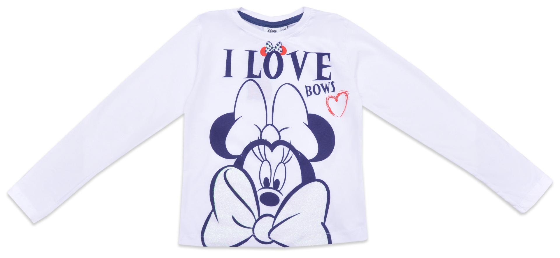 Bluza cu maneca lunga si imprimeu Minnie Mouse, Alb