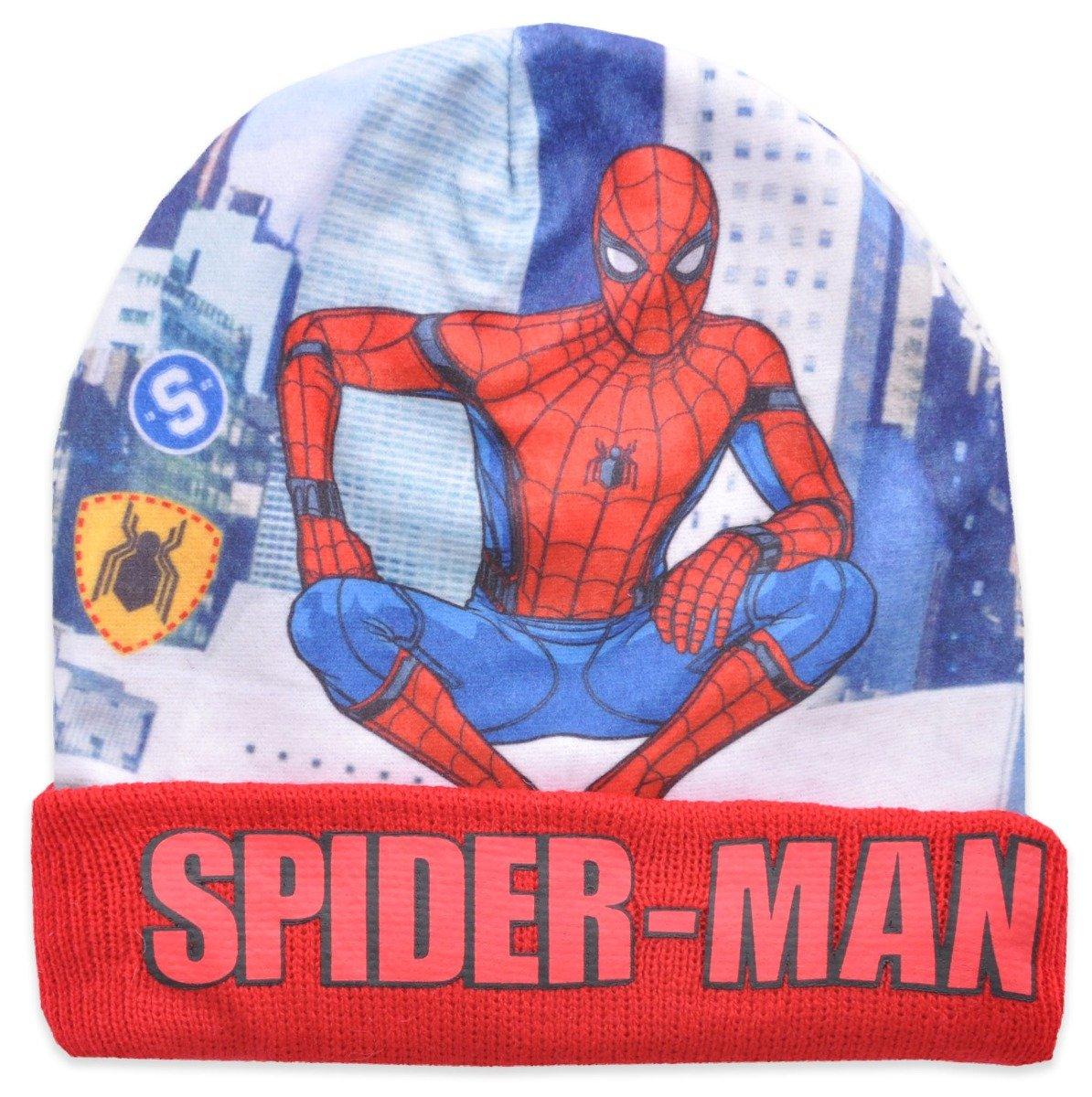 Caciula de baieti cu imprimeu Spiderman, Rosu