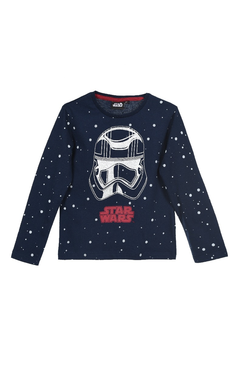 Tricou cu maneca lunga de baieti cu imprimeu Star Wars, Albastru
