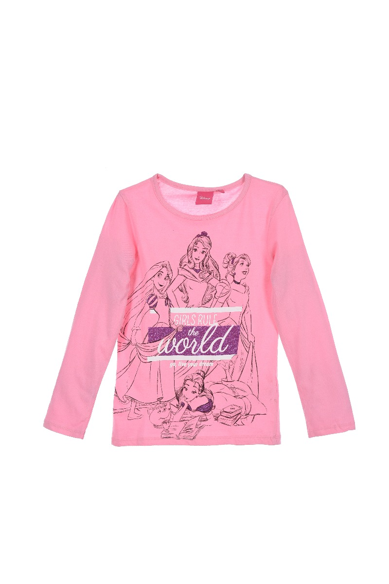 Pijama de fete cu imprimeu Princess, Roz