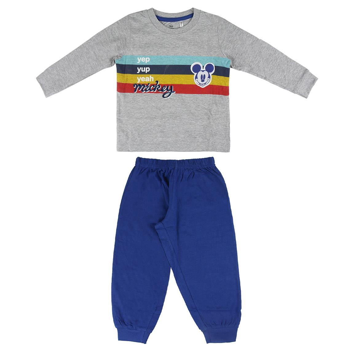 Pijama cu imprimeu Mickey Mouse, Alb/Albastru
