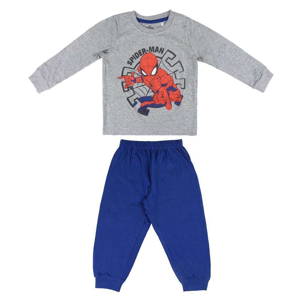 Pijama cu imprimeu central Spiderman, Alb/Albastru