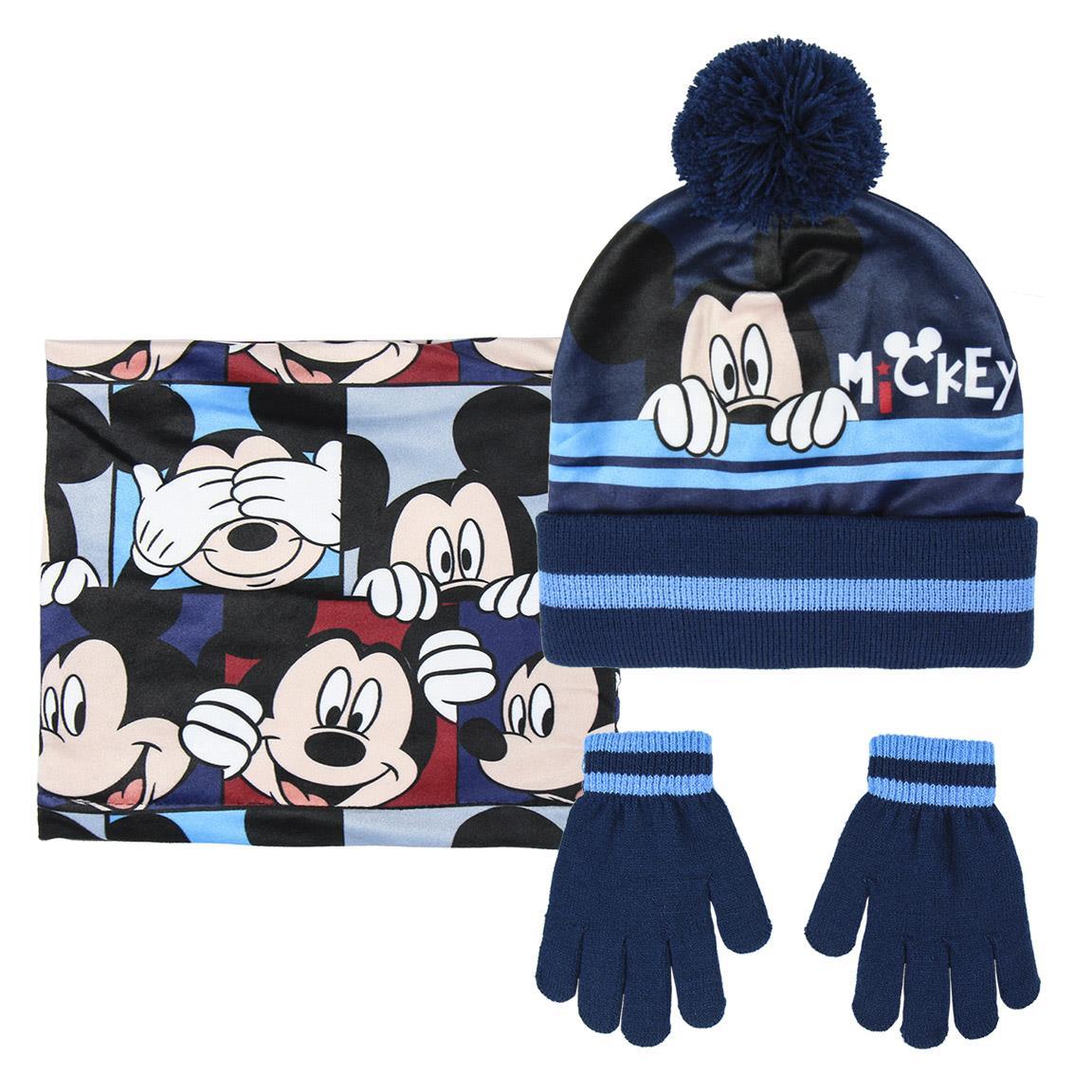 Set caciula fular si manusi Mickey Mouse, Albastru