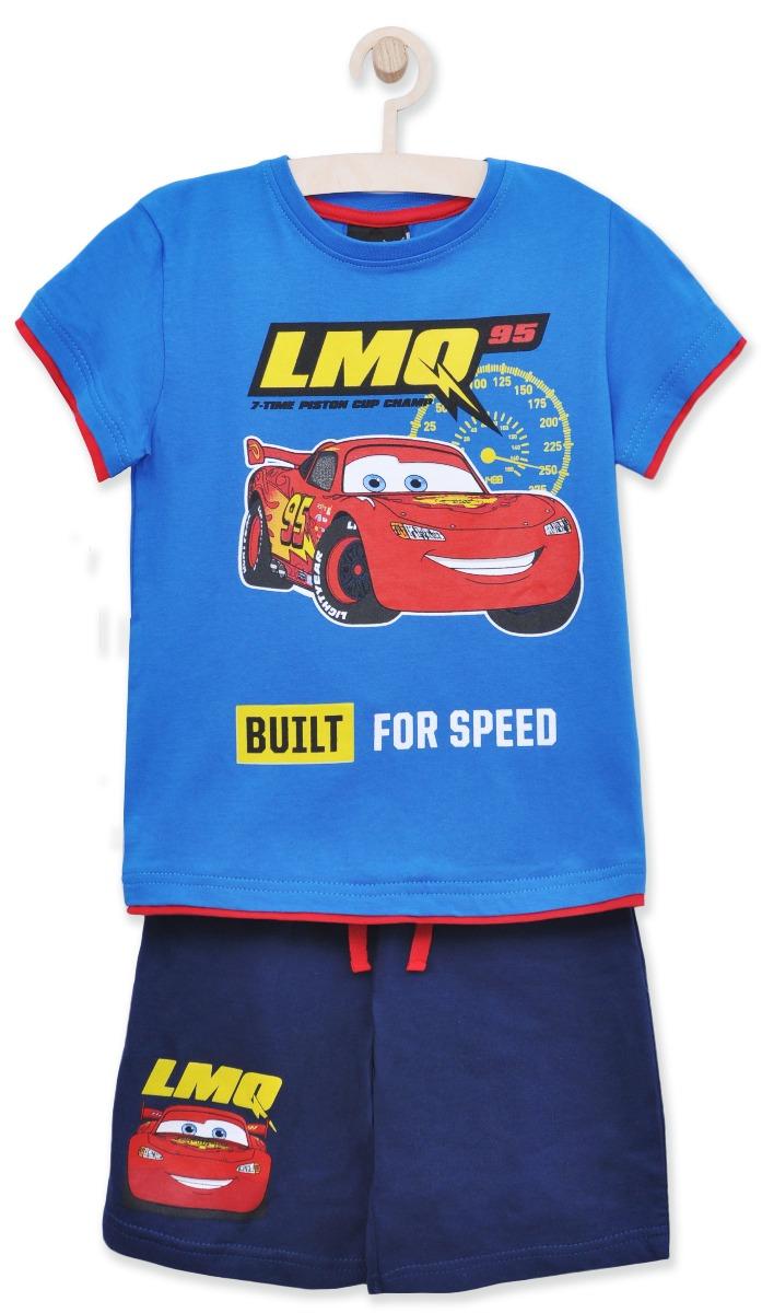 Set tricou cu maneca scurta si pantaloni Disney Cars, Albastru