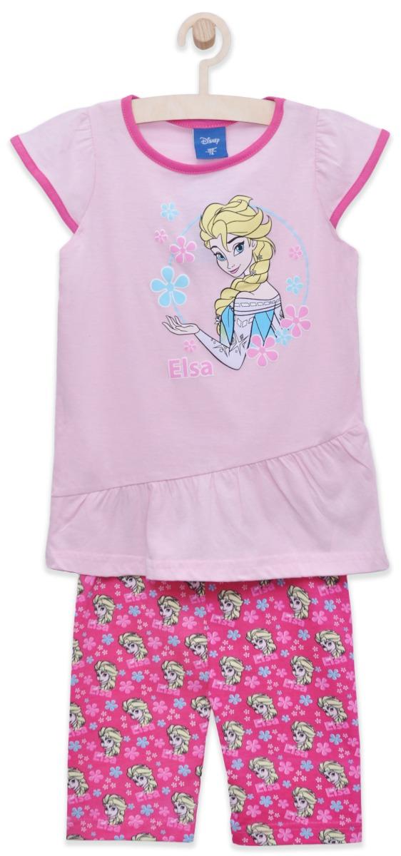 Set tricou cu maneca scurta si colanti Disney Frozen, Roz
