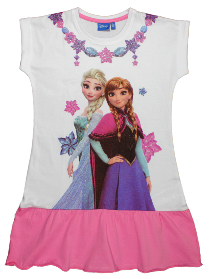 Rochie cu volane si imprimeu Disney Frozen, Roz