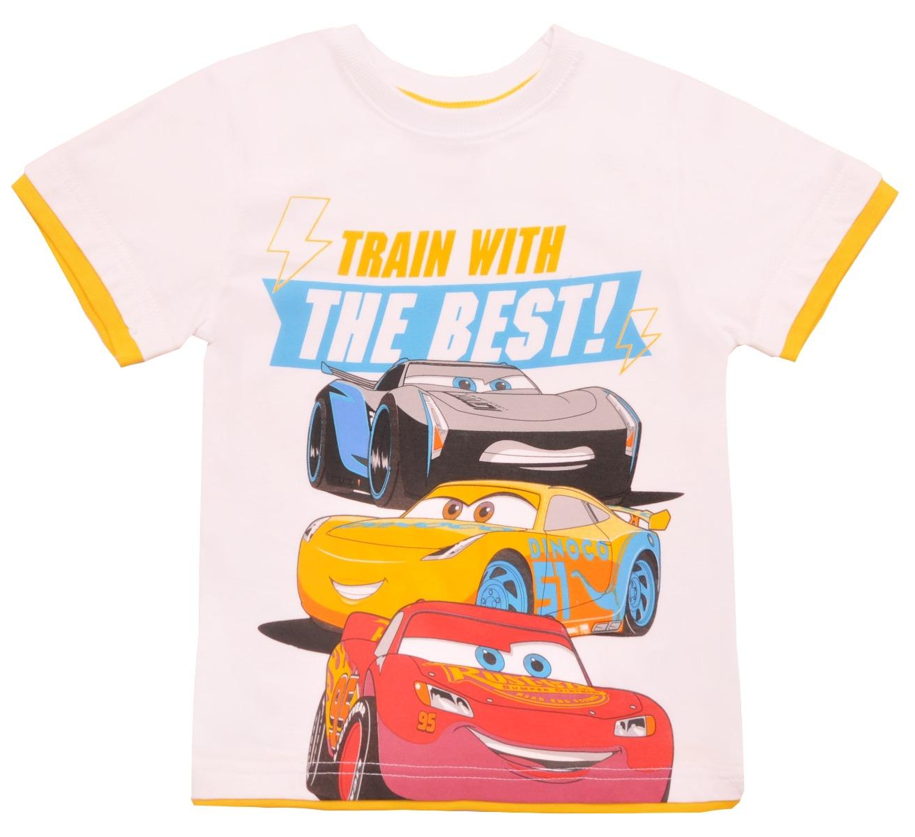 Tricou cu maneca scurta si imprimeu Disney Cars, Alb