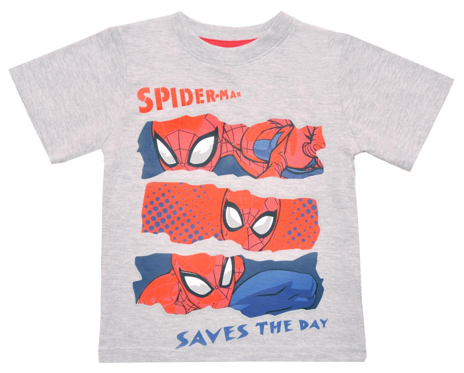 Tricou cu maneca scurta si imprimeu Spiderman, Gri