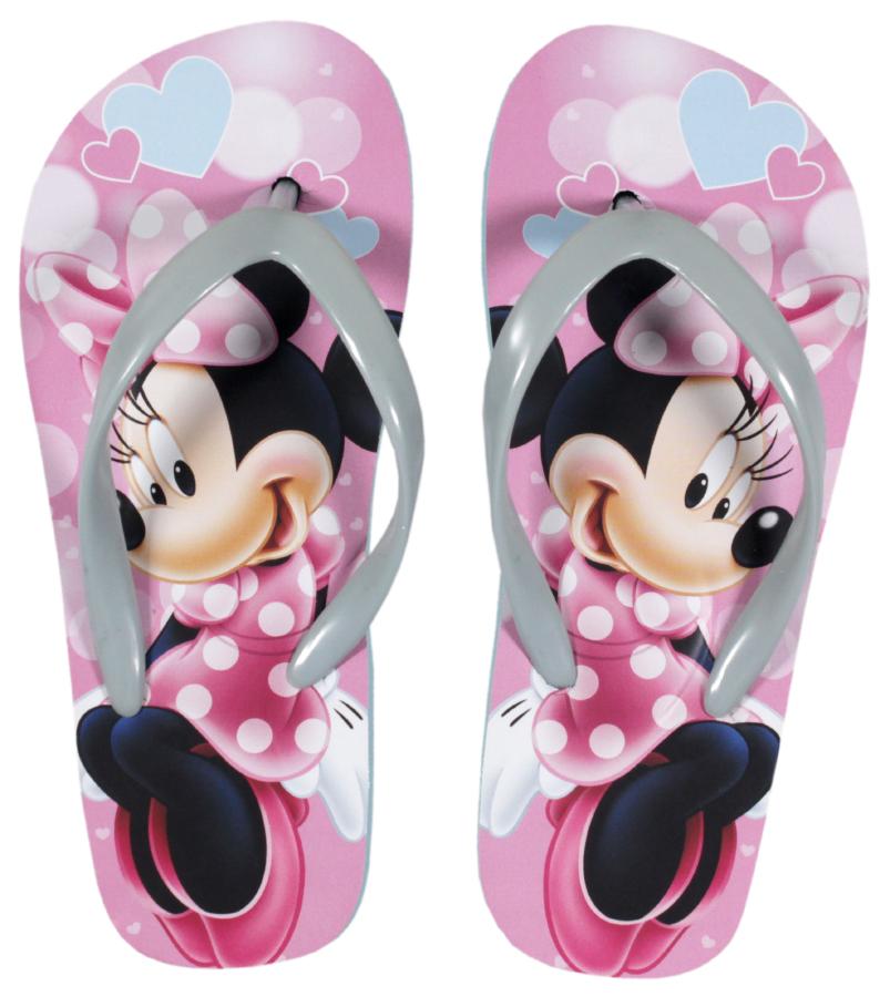 Papuci de plaja cu imprimeu Disney Minnie Mouse, Roz