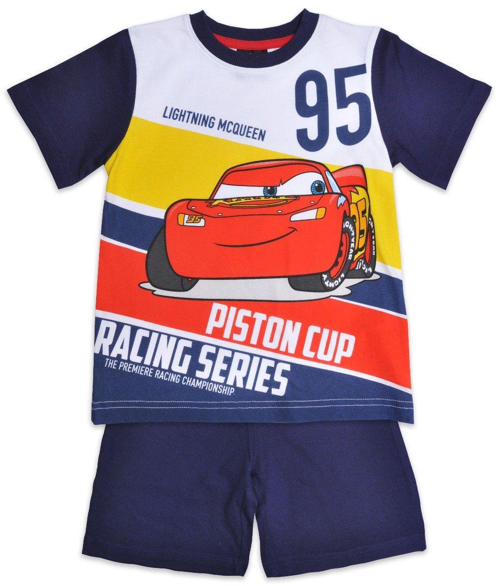 Pijama cu maneca scurta si imprimeu Disney Cars, Albastru