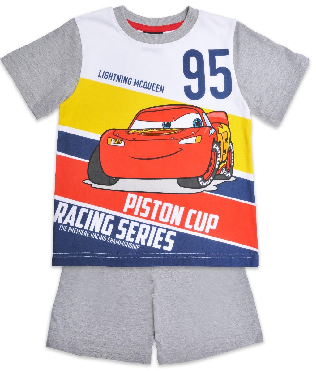 Pijama cu maneca scurta si imprimeu Disney Cars, Gri