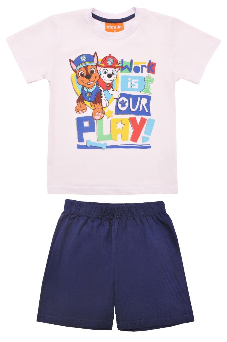 Pijama cu maneca scurta si imprimeu Paw Patrol, Albastru imagine