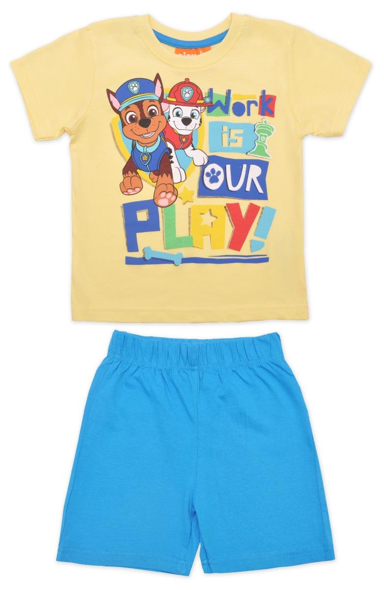 Pijama cu maneca scurta si imprimeu Paw Patrol, Blue