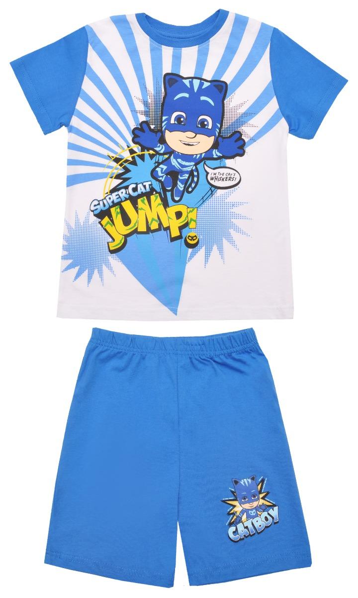 Pijama cu maneca scurta si imprimeu Pj Masks, Albastru