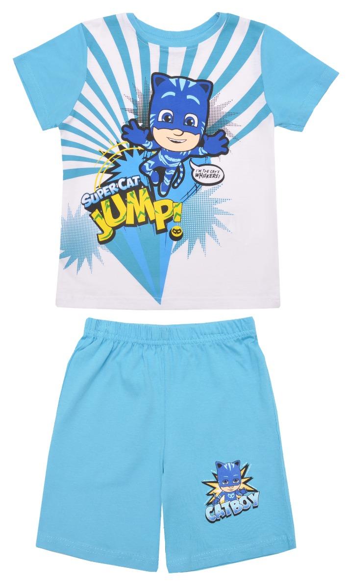 Pijama cu maneca scurta si imprimeu Pj Masks, Blue imagine
