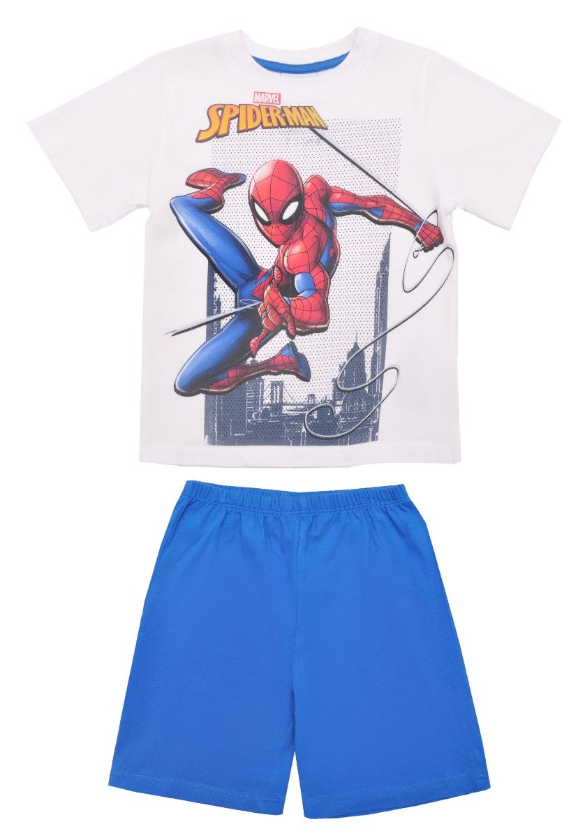 Pijama cu maneca scurta si imprimeu Spiderman, Albastru imagine