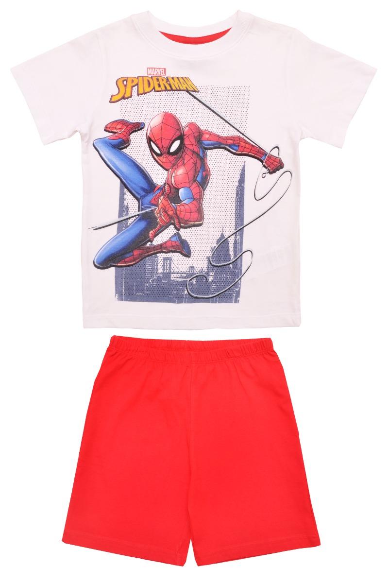 Pijama cu maneca scurta si imprimeu Spiderman, Rosu