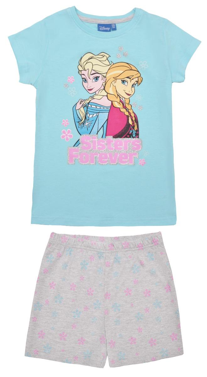Pijama cu maneca scurta si imprimeu Disney Frozen, Blue