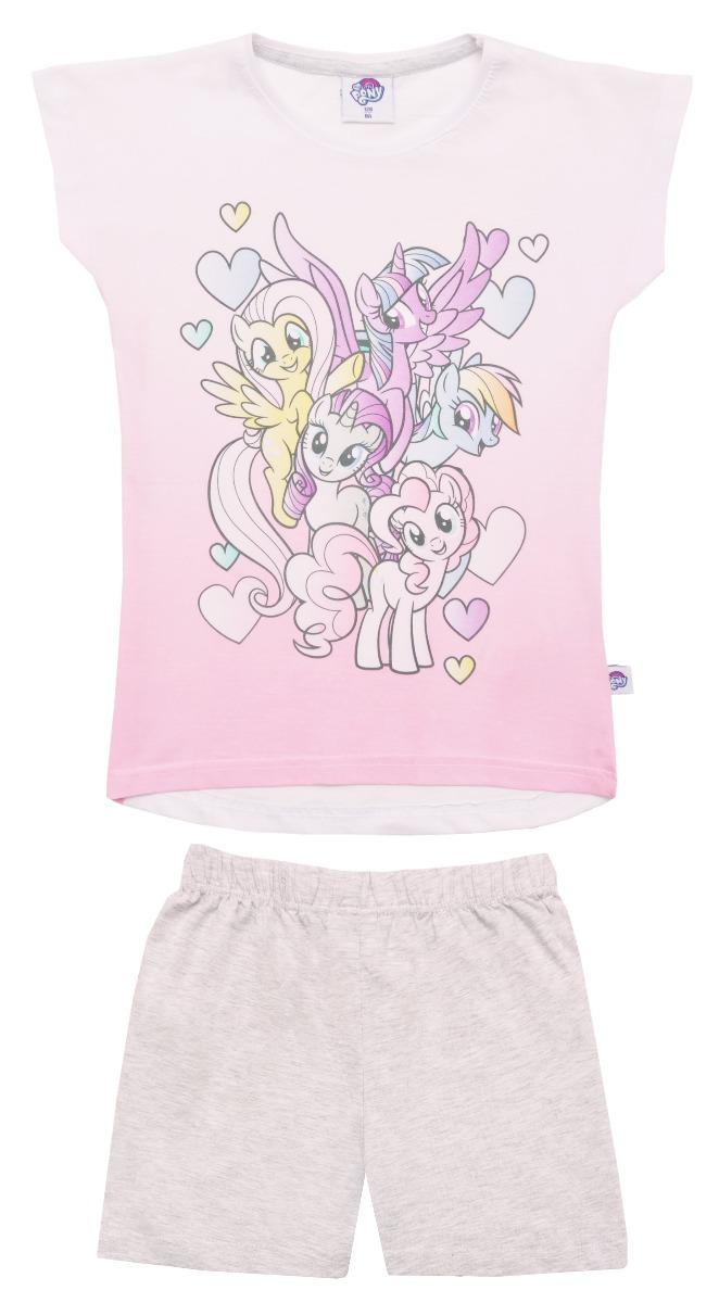 Pijama cu maneca scurta si imprimeu My Little Pony, Gri