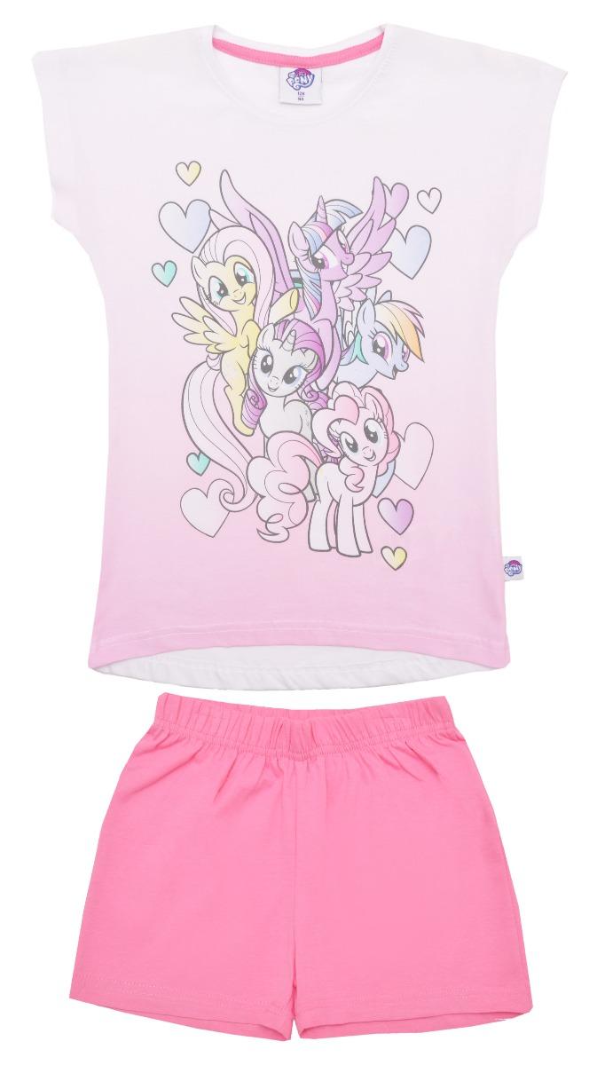 Pijama cu maneca scurta si imprimeu My Little Pony, Roz