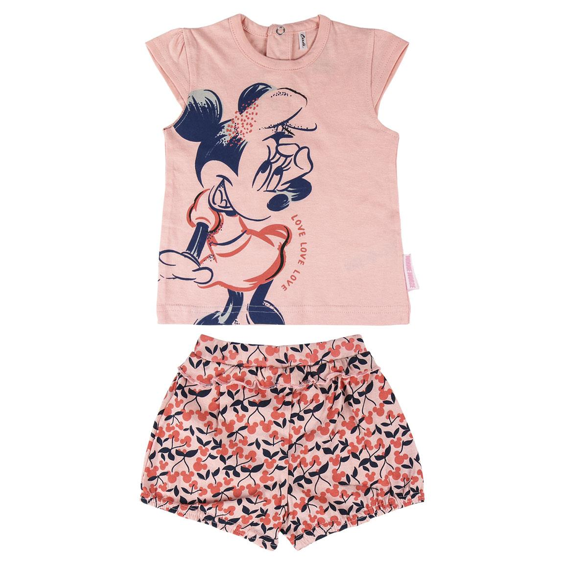 Set tricou si pantaloni scurti Disney Minnie Mouse, Roz