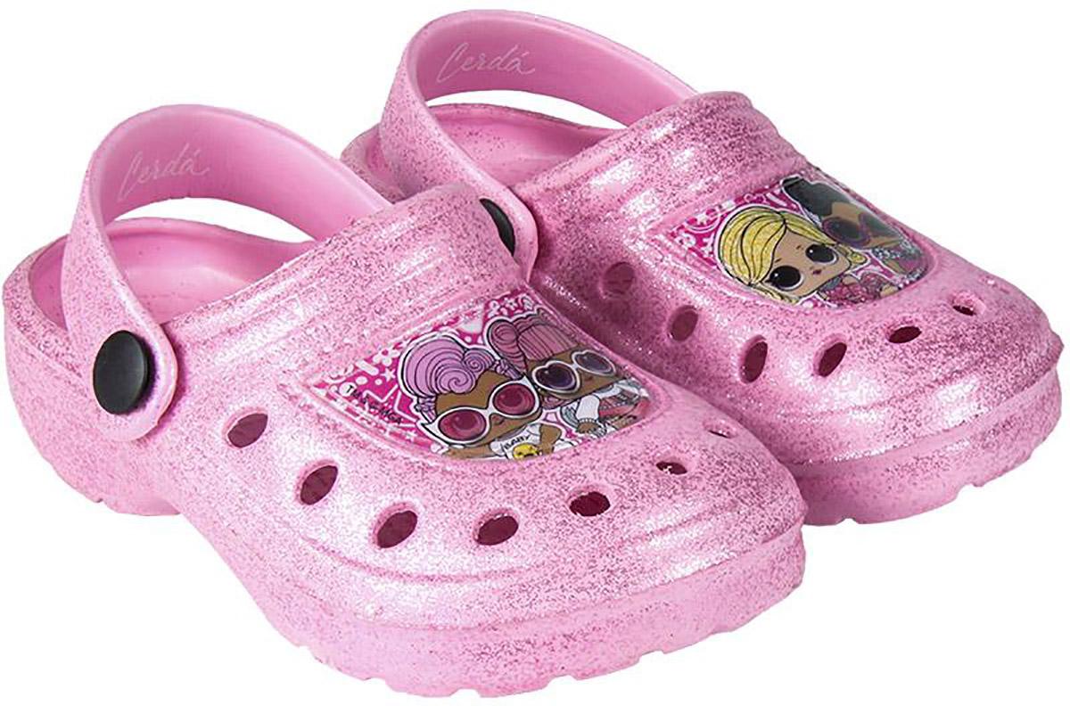 Papuci cu imprimeu LOL, Roz