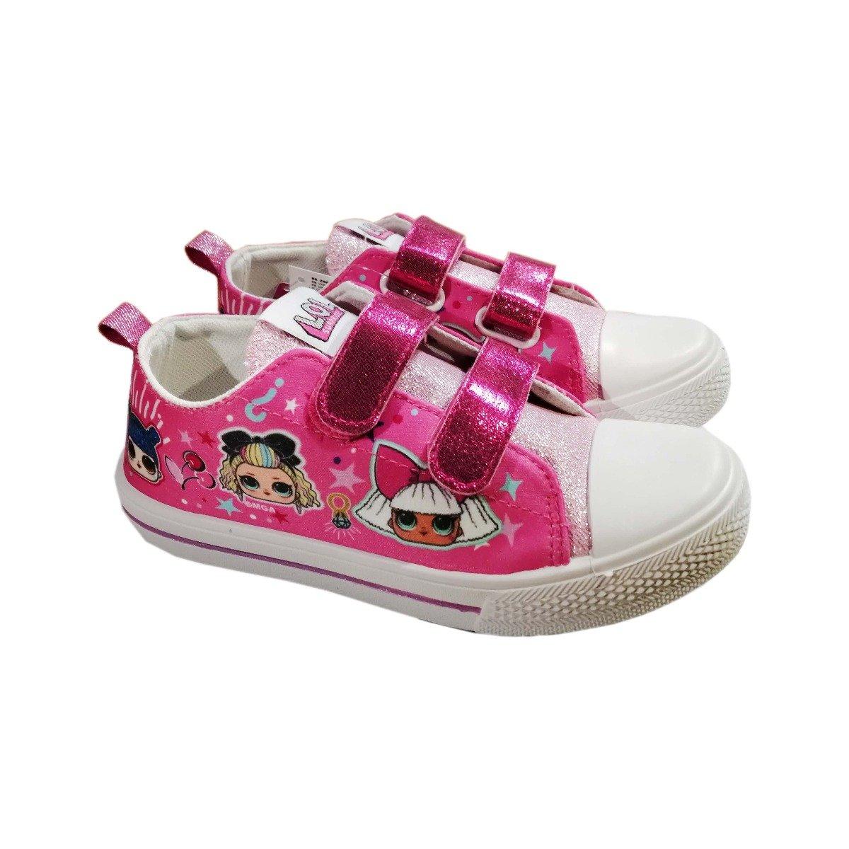 Tenisi cu scai si imprimeu LOL, Roz