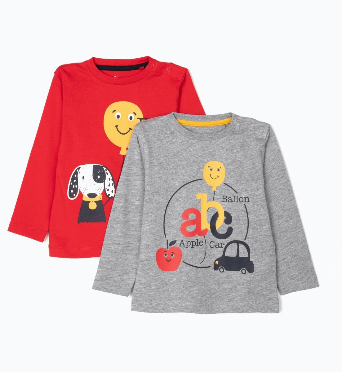 Set tricou cu maneca lunga si imprimeu frontal Zippy, 2 buc