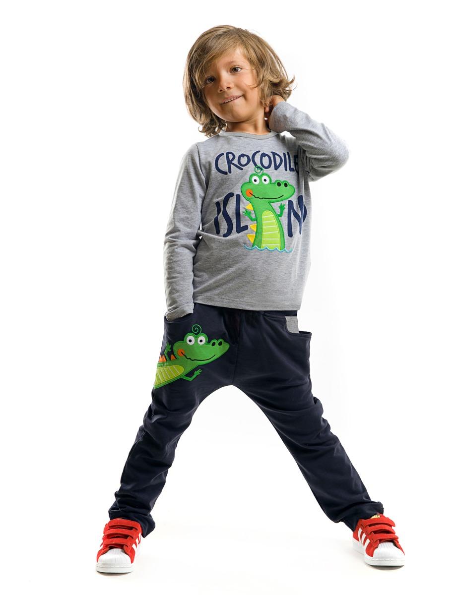 Set bluza cu maneca lunga si pantaloni sport Denokids Crocodile Island