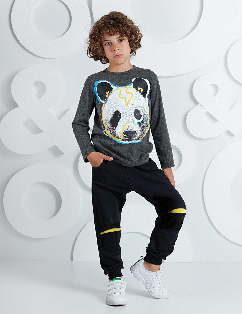 Set bluza cu maneca lunga si pantaloni sport Mushi Bear imagine