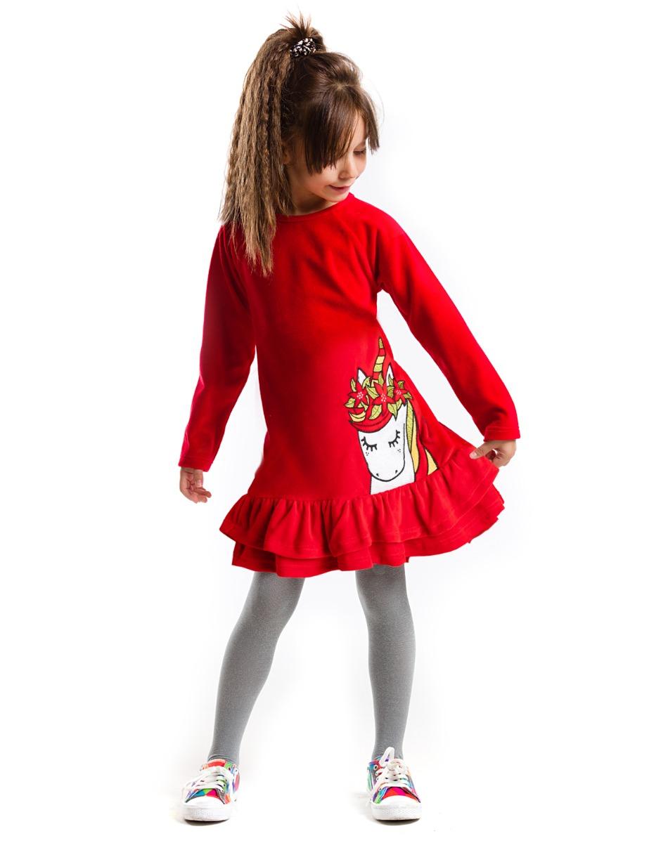 Rochie Cu Maneca Lunga Si Imprimeu Mushi Unicorn Christmas