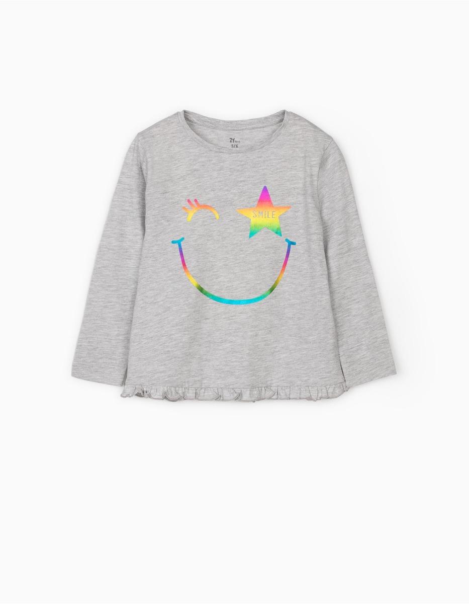 Tricou cu maneca lunga si imprimeu Zippy Smile imagine