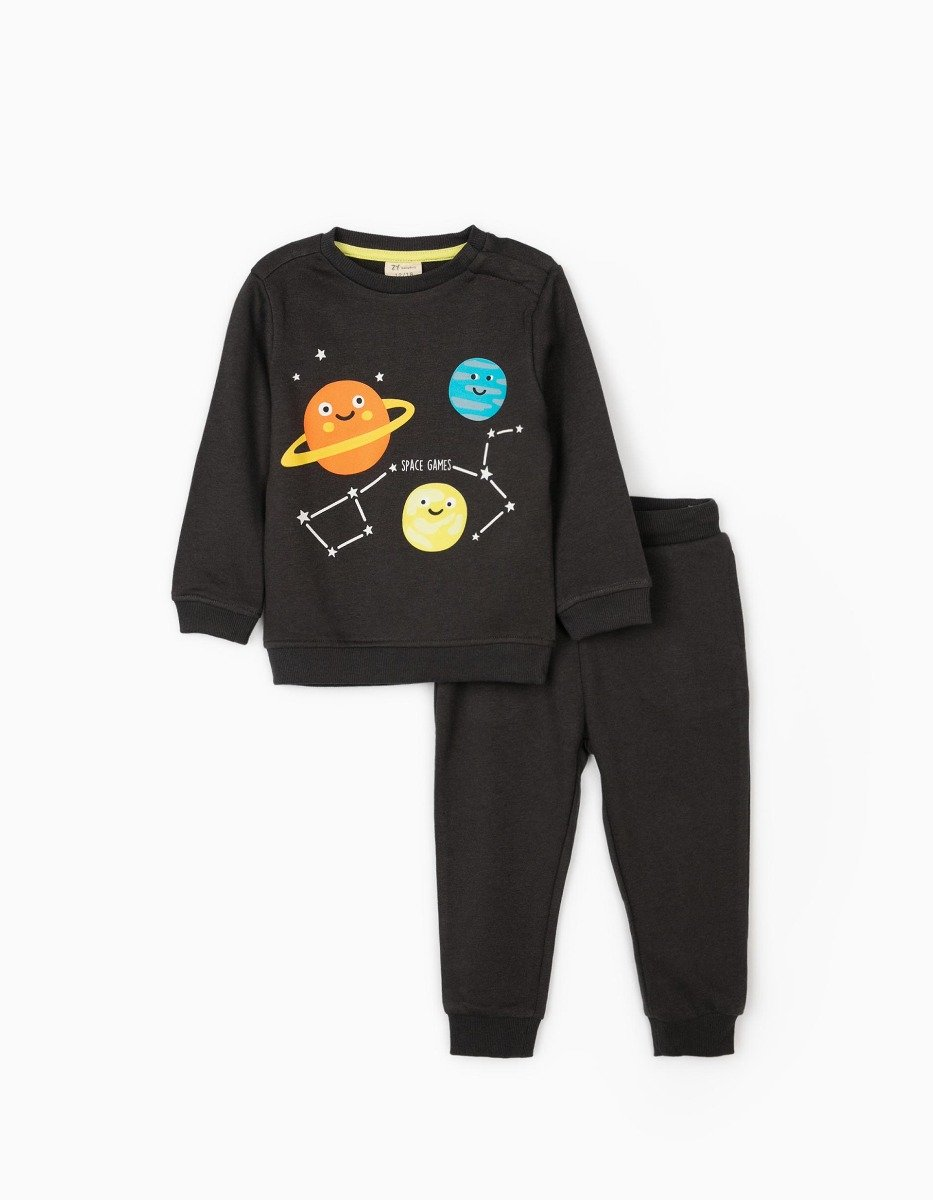 Set bluza cu maneca lunga si pantaloni sport Zippy Space Game