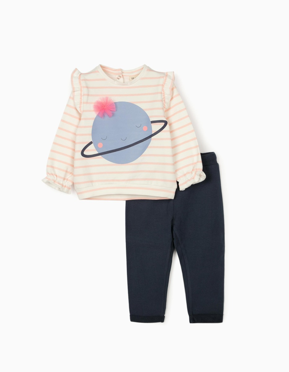 Set tricou cu maneca lunga si pantaloni sport Zippy Cute Saturn