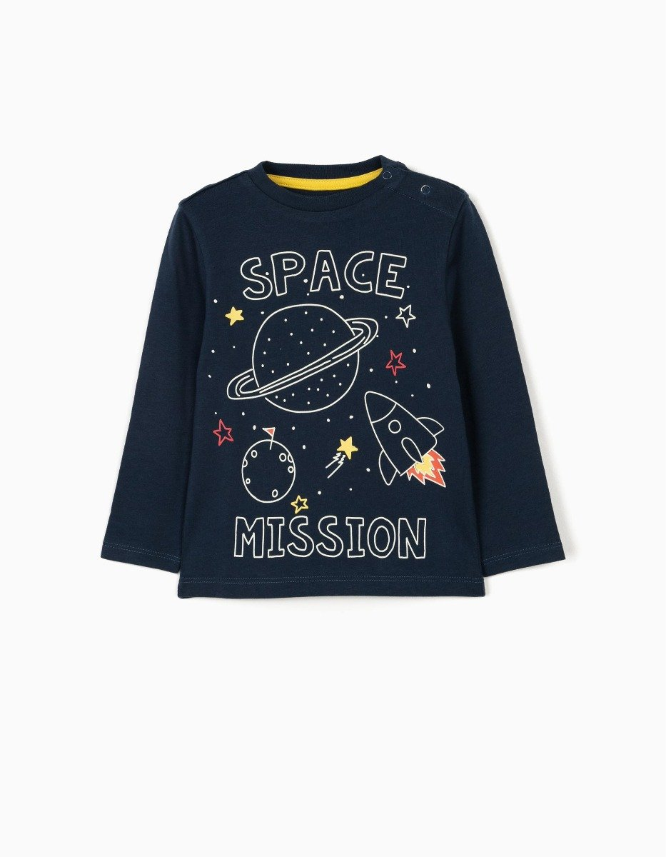 Tricou cu maneca lunga si imprimeu Zippy Space Mission