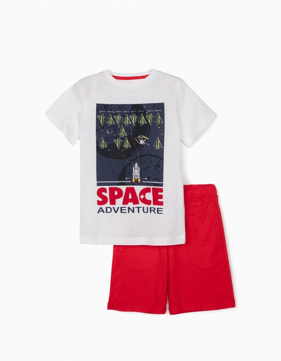 Set tricou si pantaloni scurti Zippy, Alb-Rosu imagine