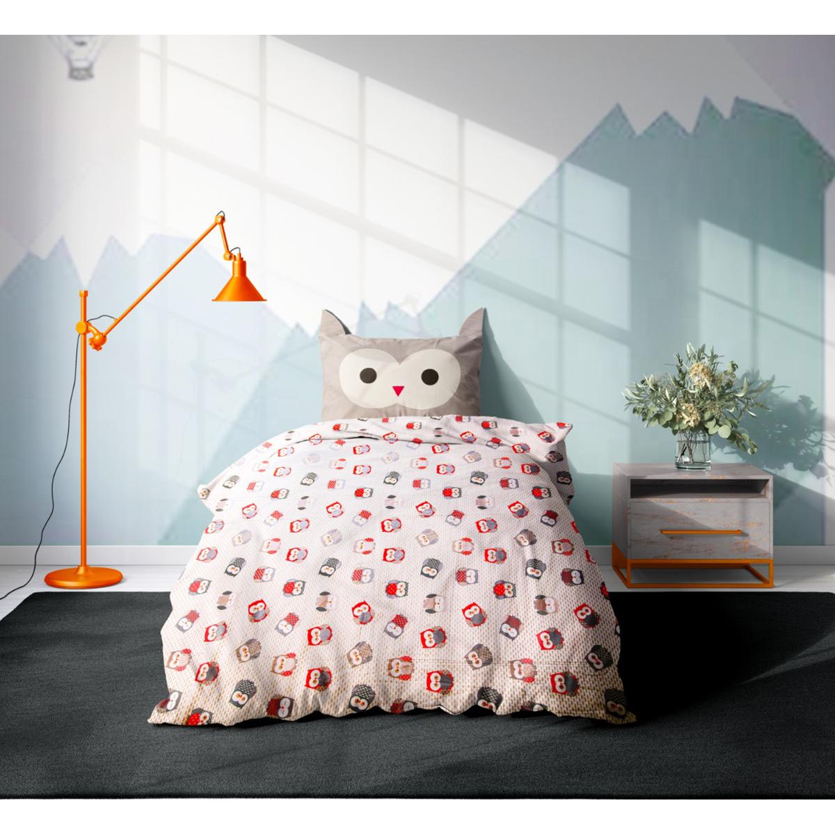 Set 3 Piese Lenjerie Pat Copii Viada Owl, 150 X 200 Cm
