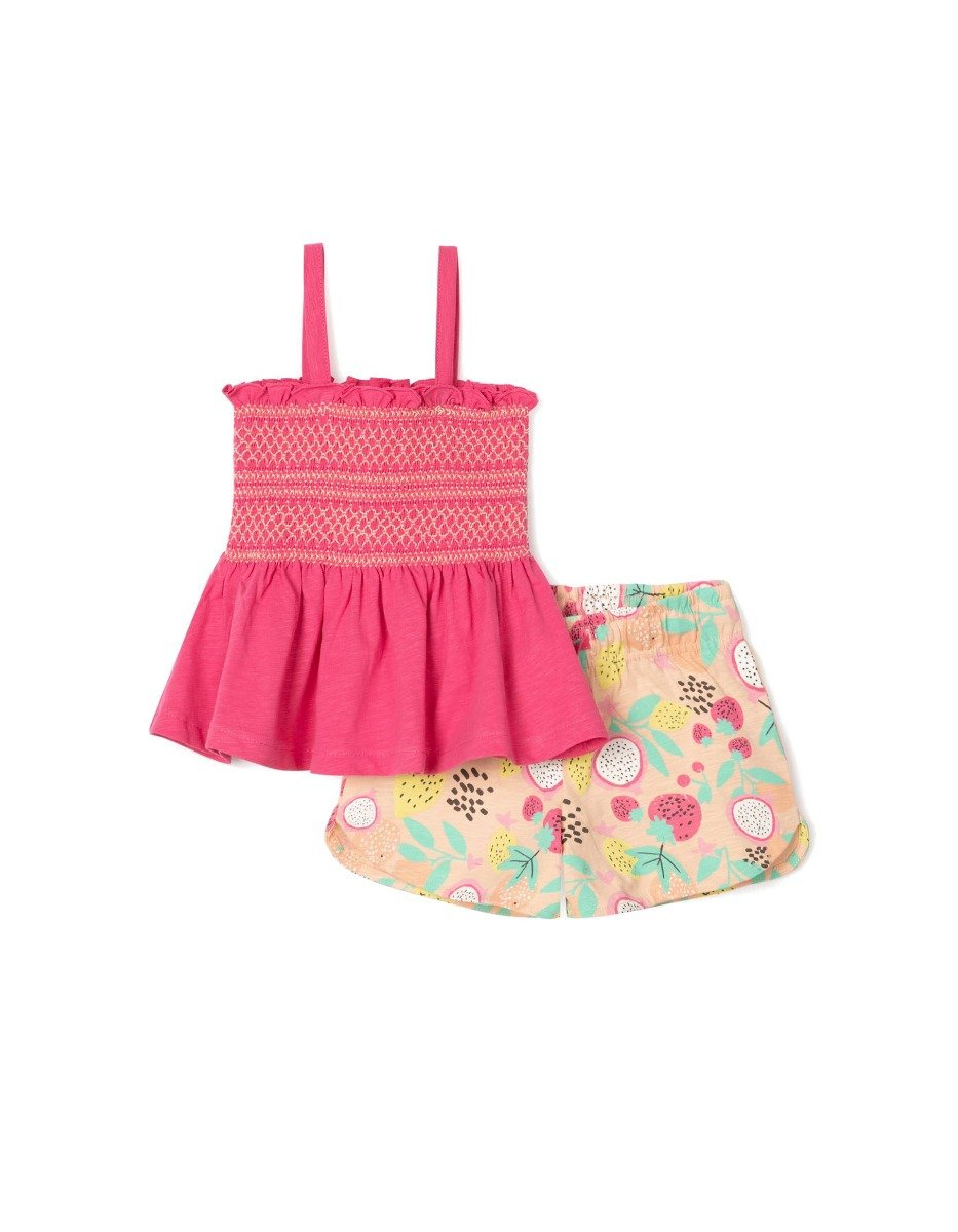 Set top cu bretele si pantaloni scurti Zippy