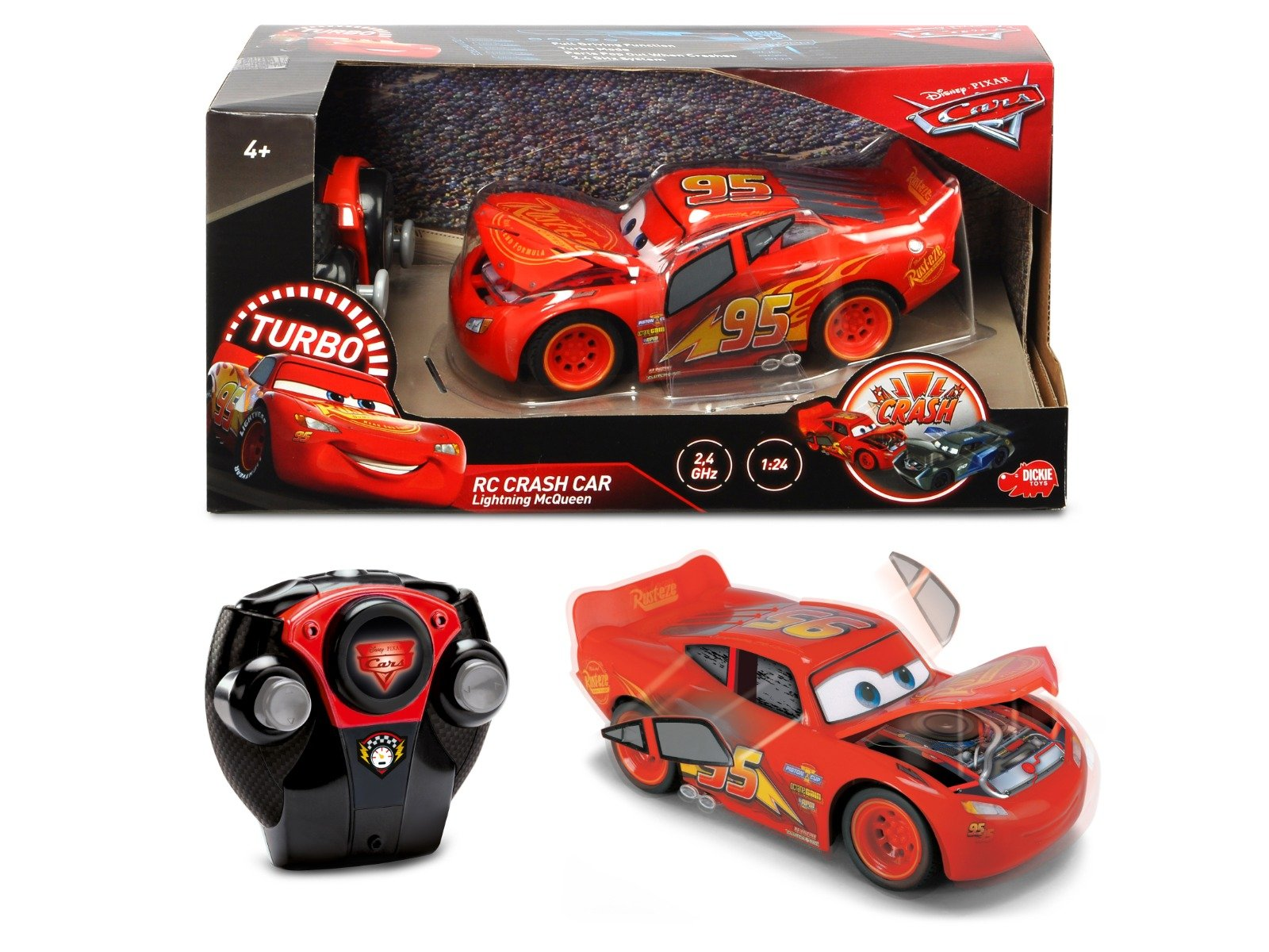 Masinuta McQueen Crazy Crash Cars 3 RC 1:24