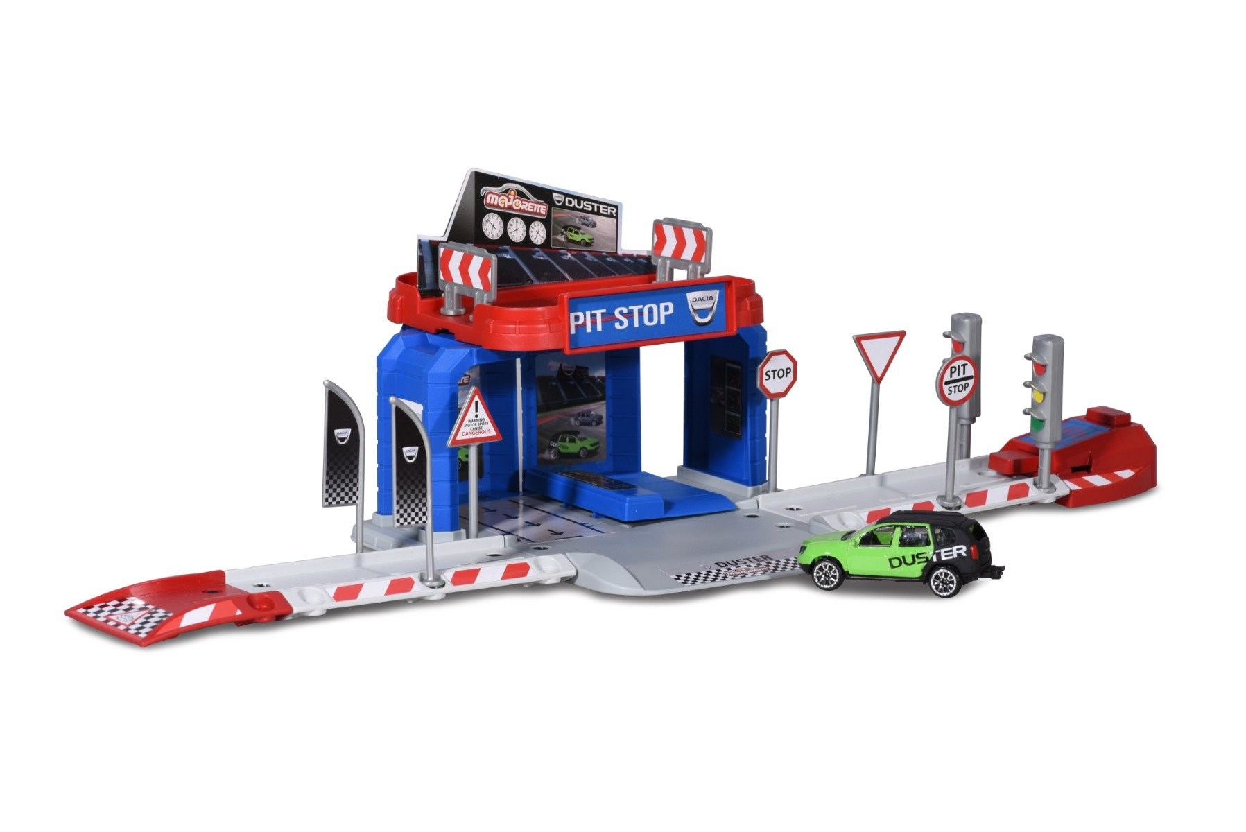 Set Garaj cu masinuta Majorette Vision Gran Turismo Pit Stop, Dacia Duster