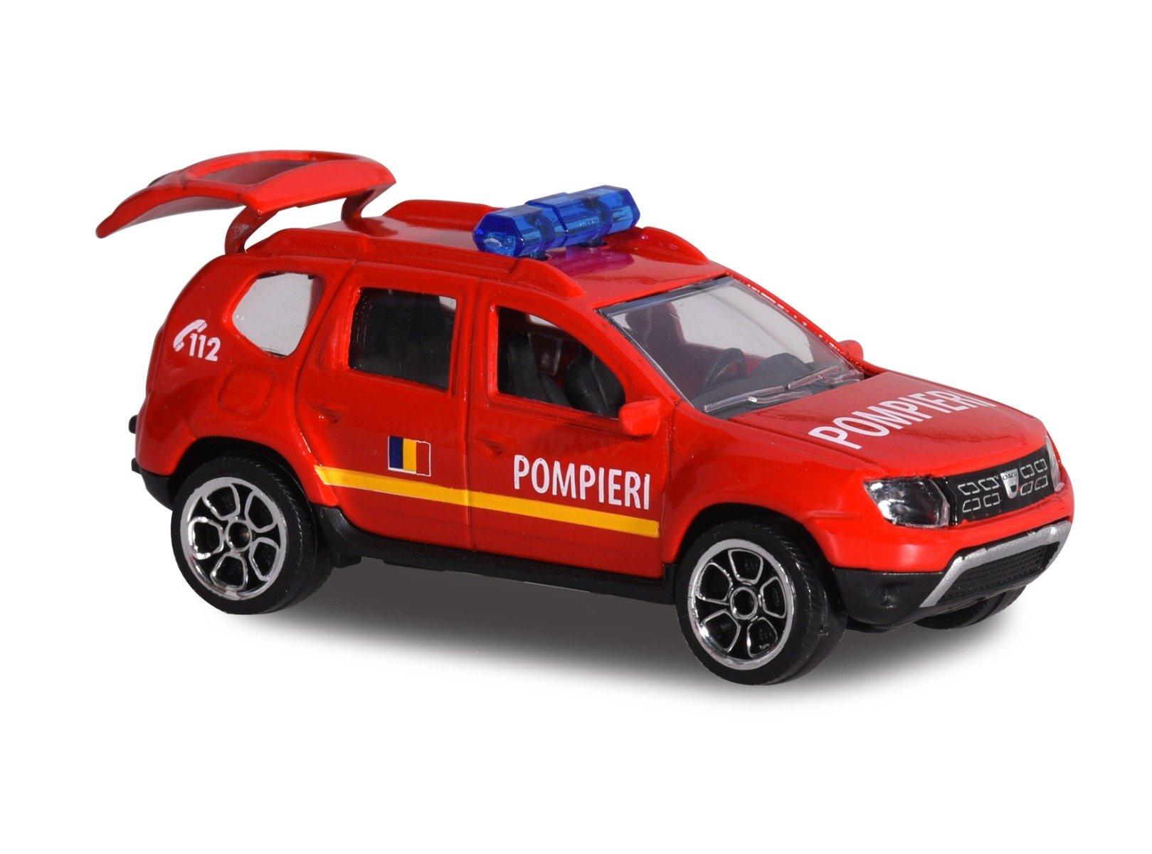 Masinuta Dacia Duster Majorette, 7.5 cm, Pompieri