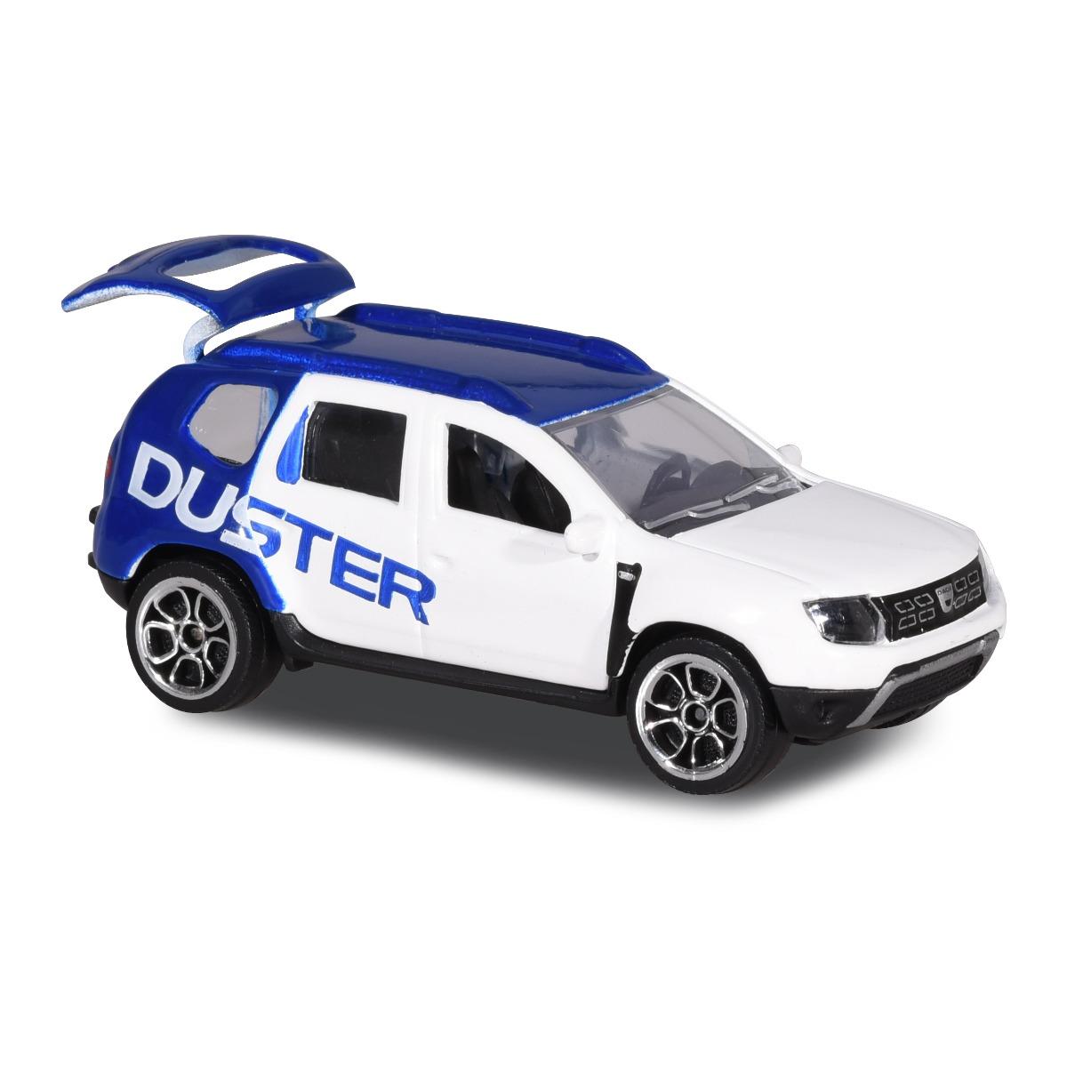 Masinuta Dacia Duster Majorette, 7.5 cm, Alb/Albastru
