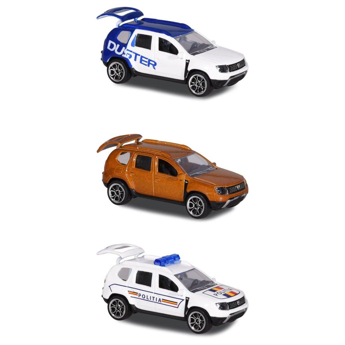 Set 3 masinute de metal Dacia Duster Majorette, 7.5 cm